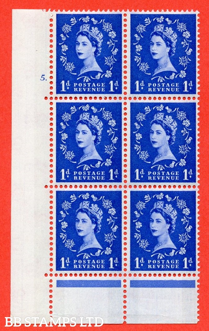 "SG.611. S21. 1d Ultramarine. A fine mounted mint "" cylinder 5 no dot "" control block of 6 with perf type C (E/P). Blue Phosphor Cream paper."