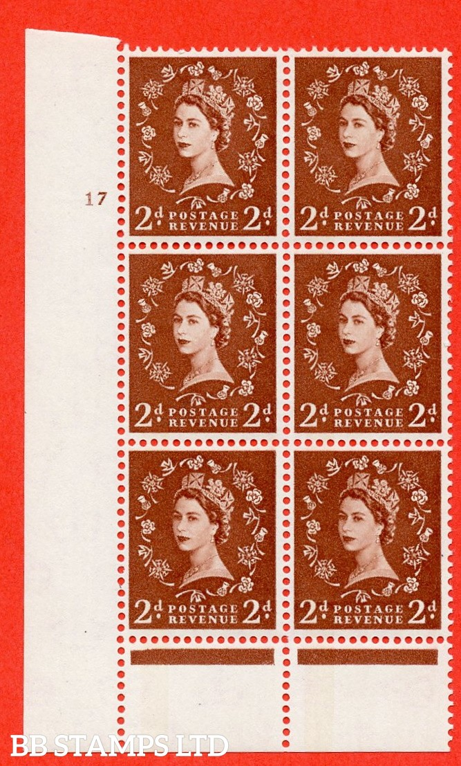 "SG. 613. S44. 2d Light red brown. A fine mounted mint "" cylinder 17 no  dot "" control block of 6 with perf type B (I/P). Green Phosphor."
