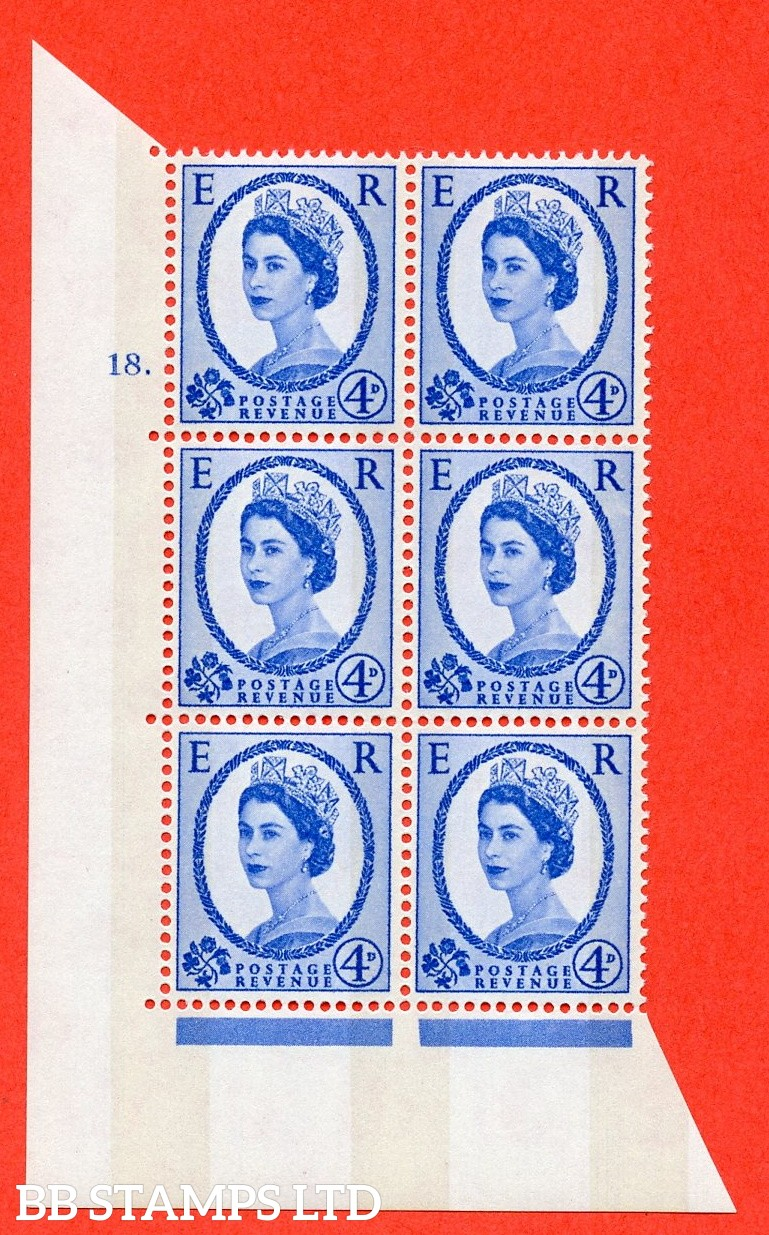 "SG.616a. S91. 4d Deep Ultramarine. A superb UNMOUNTED MINT "" cylinder 18 dot "" control block of 6 with perf type A (E/I). violet Phosphor 8mm Band."