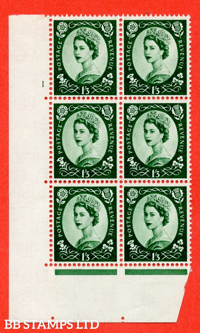 "SG. 585 S143. 1/3d Green  A superb UNMOUNTED MINT "" cylinder 1 no dot "" control block of 6 with perf type A (E/I)."