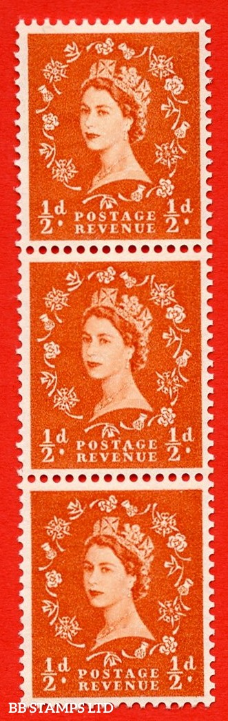 "SG. 540. S2g. ½d. Orange-red. A fine UNMOUNTED MINT example. Vertical Coil strip of 3. With a ""A"" flaw in ""POSTAGE""  ERROR Roll 3 variety"