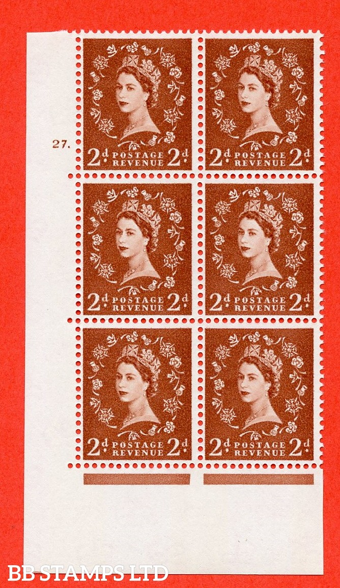 "SG.613a. S49. 2d Light Red Brown. A fine mounted mint "" cylinder 27 dot "" control block of 6 with perf type A (E/I). violet Phosphor 9½mm Band."