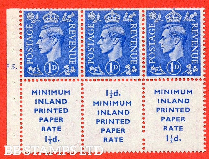 "SG. 504d. QB18. 1d ultramarine. A fine UNMOUNTED MINT example with "" MINIMUM INLAND PRINTED PAPER RATE "" 17 mm high. Cylinder pane F5 Dot. Perf type "" B6(Ie) "". Trimmed Perf."