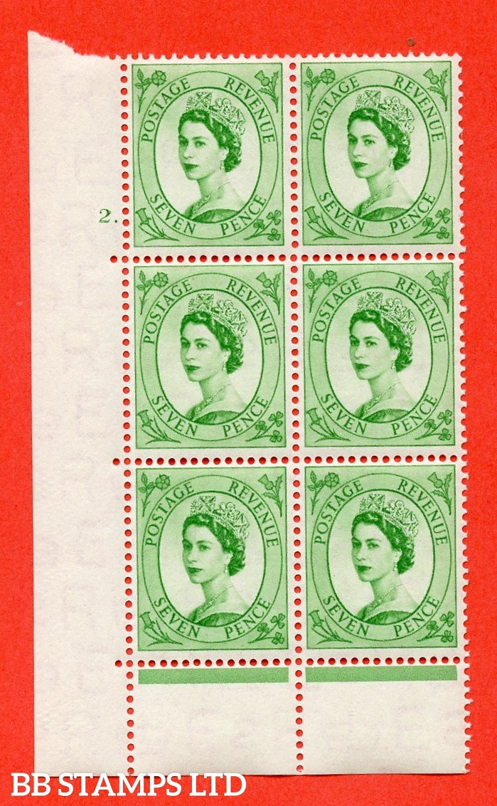 "SG. 524. S114. 7d Bright Green. A superb UNMOUNTED MINT "" cylinder 2 dot "" control block of 6 with perf type C E/P."