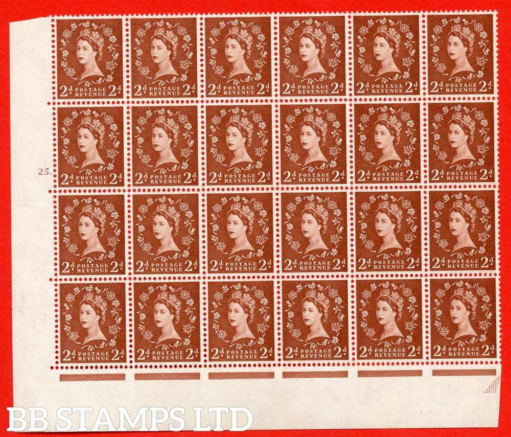 SG. 573. S40d. 2d light red brown . A superb MOUNTED MINT example. Bolck of 24 from cylinder 25 dot. Cream paper. With a Tadpole retouch ERROR. R.17/6.  (variety is UM)