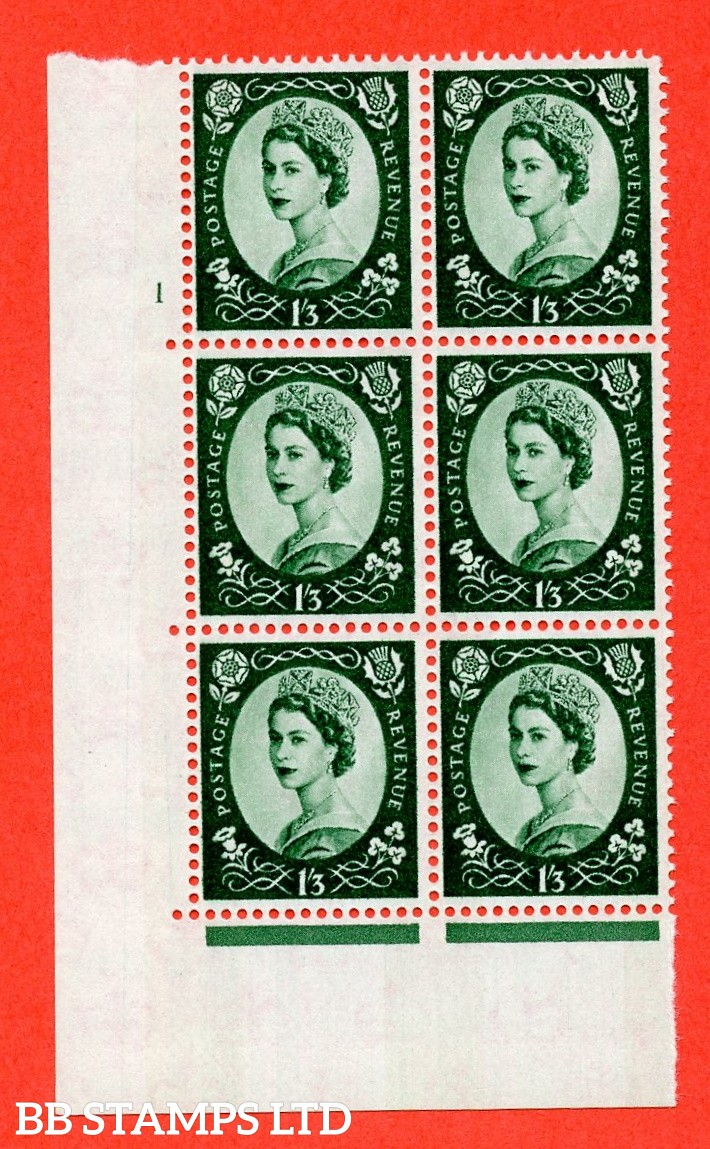 "SG.618. S147. 1/3d Green. A superb UNMOUNTED MINT "" cylinder 1 no dot "" control block of 6 with perf type A (E/I). Blue Phosphor White paper."