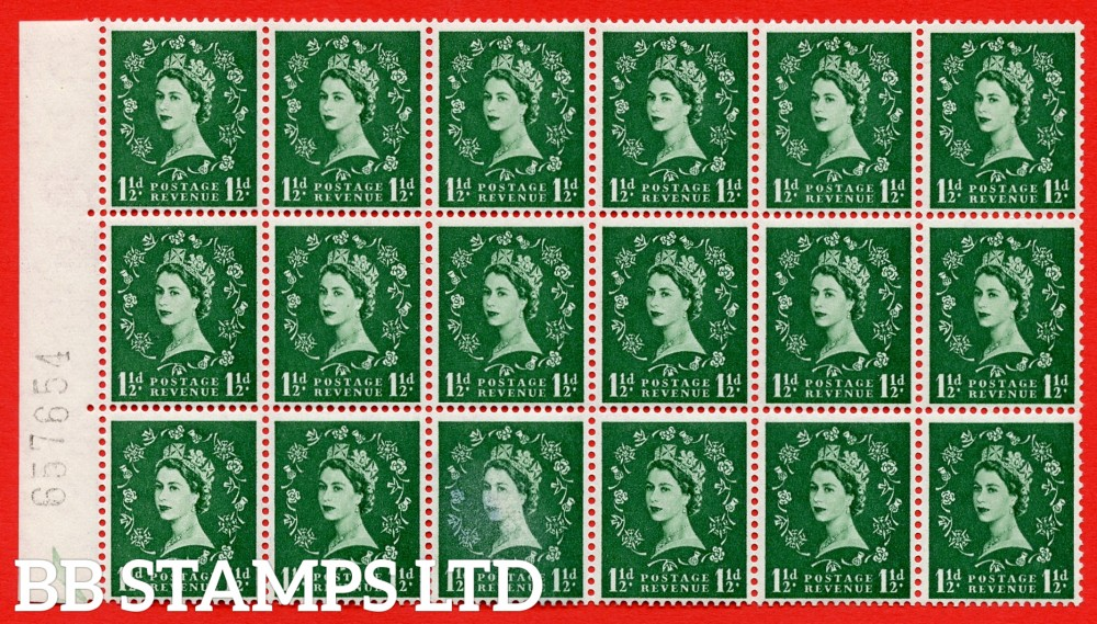 SG. 542. S26h. 1½d. Green. A superb UNMOUNTED MINT example from cylinder 14 no dot block of 18. Variety Bud on shamrock stem (Cyl. 14)