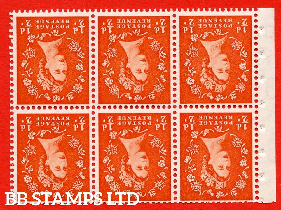 SG. 515Wi. SB1a. ½d orange - red. A fine UNMOUNTED MINTexample. INVERTED WATERMARK. Complete Booklet pane of 6. Perf Type Iet. Good perfs.
