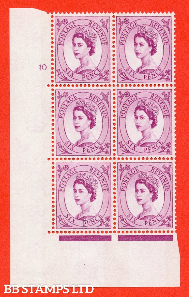 "SG.617. S111. 6d Deep Claret. Photo.  A fine mounted mint "" cylinder 10 no dot "" control block of 6 with perf type A (E/I). Blue Phosphor White paper."