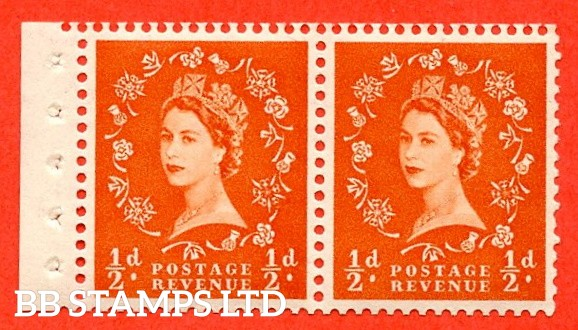 SG. 515. SB3. ½d Orange-Red. A fine UNMOUNTED MINT. Complete booklet pane of 2 with perf type E. Good perfs.
