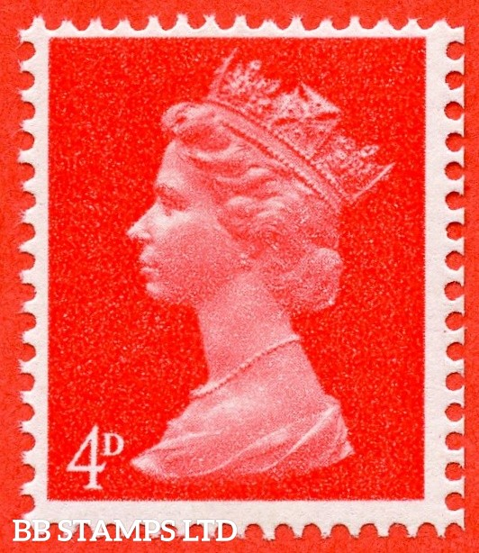 "SG. 733 b. 4d bright vermilion. "" UNCOATED PAPER "". A super UNMOUNTED MINT example of this scarce QEII variety."