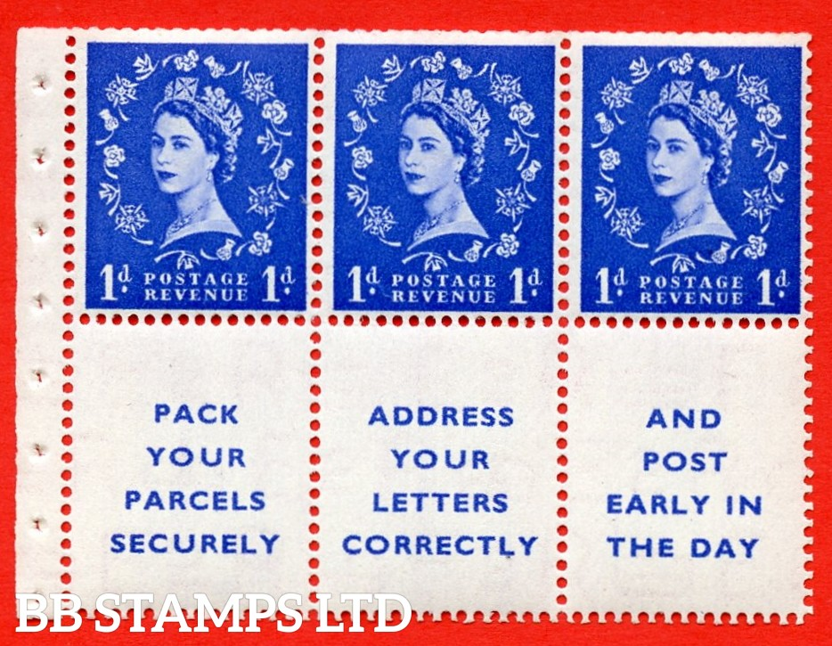 SG. 516La. SB25. 1d ultramarine. A fine UNMOUNTED MINT Complete booklet pane of 6. Perf type (IR) with Trimmed PERFS.