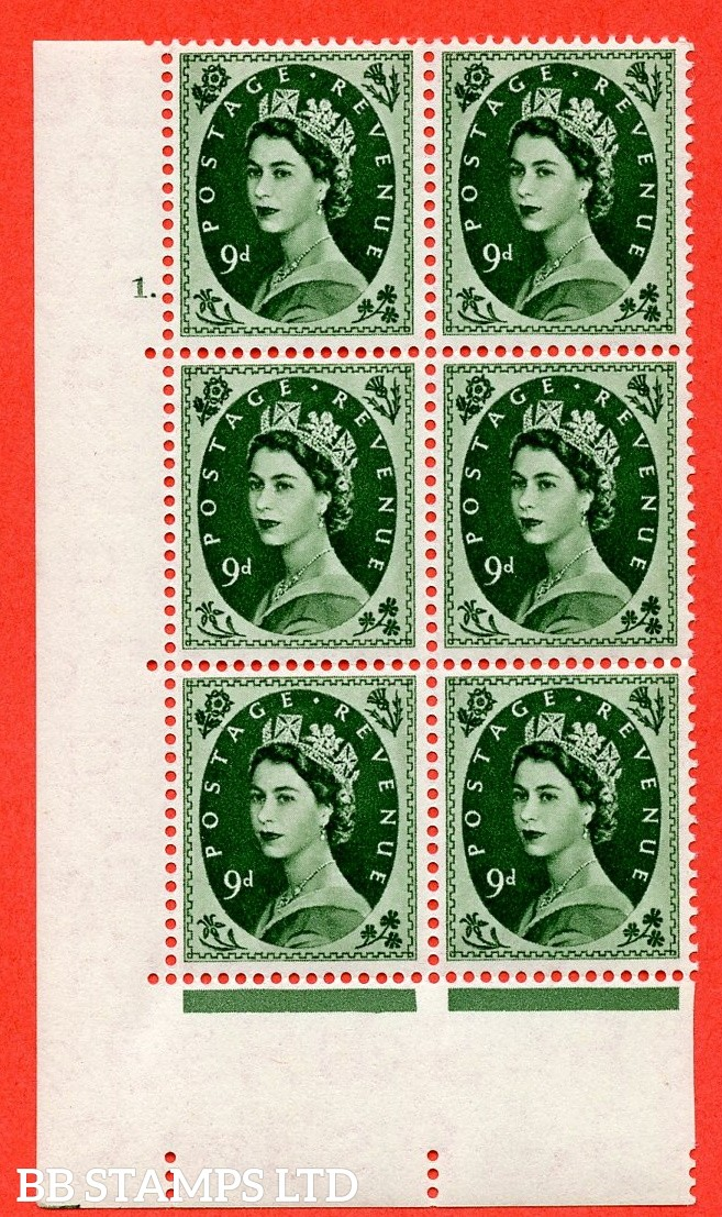 "SG. 551. S125. 9d. Bronze - green. A superb UNMOUNTED MINT "" cylinder 1 dot "" control block of 6 with perf type A E/I."