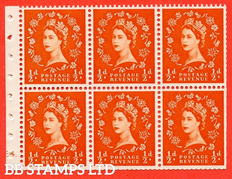 "SG. 540. SB4. ½d orange - red. A fine UNMOUNTED MINT cylinder "" E4 dot "" booklet pane of 6. Perf type (I) with TRIMMED PERFS. Smooth edge."