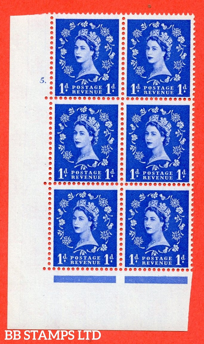 "SG. 571. S16. 1d Ultramarine. A superb UNMOUNTED MINT "" cylinder 5 dot "" control block of 6 with perf type A E/I. CREAM paper."