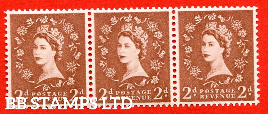 "SG.613a. S49c. 2d Light Red Brown. A superb UNMOUNTED MINT example. Coil strip of 3. Sideways watermark. violet Phosphor 9½mm Band. With a extra leg to ""R"" ERROR. Roll 2 variety."