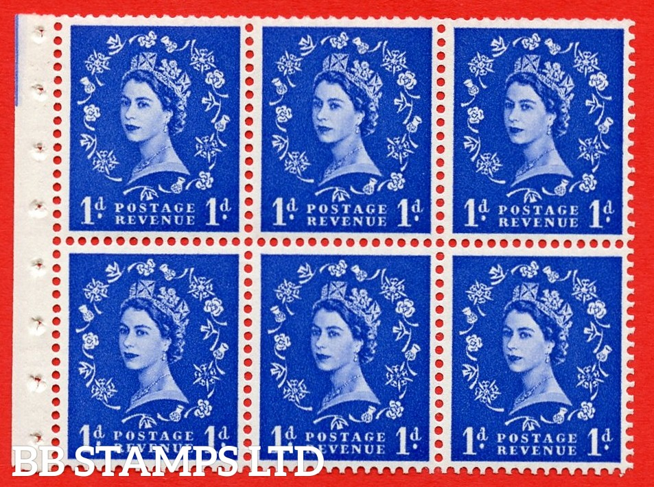 SG. 516L. SB20. 1d ultramarine. A fine UNMOUNTED MINT example. Complete Booklet pane of 6. Perf Type Ieb. Good Perfs.
