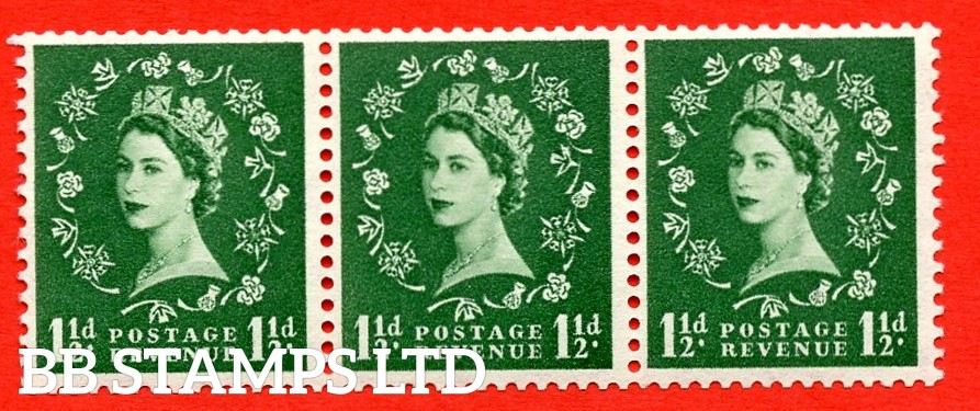 SG. 542a. S26s. 1½d. Green. A superb UNMOUNTED MINT example. coil strip of 3. WATERMARK sideways left. With a Daffodil flaw. ERROR. Roll 8 variety.