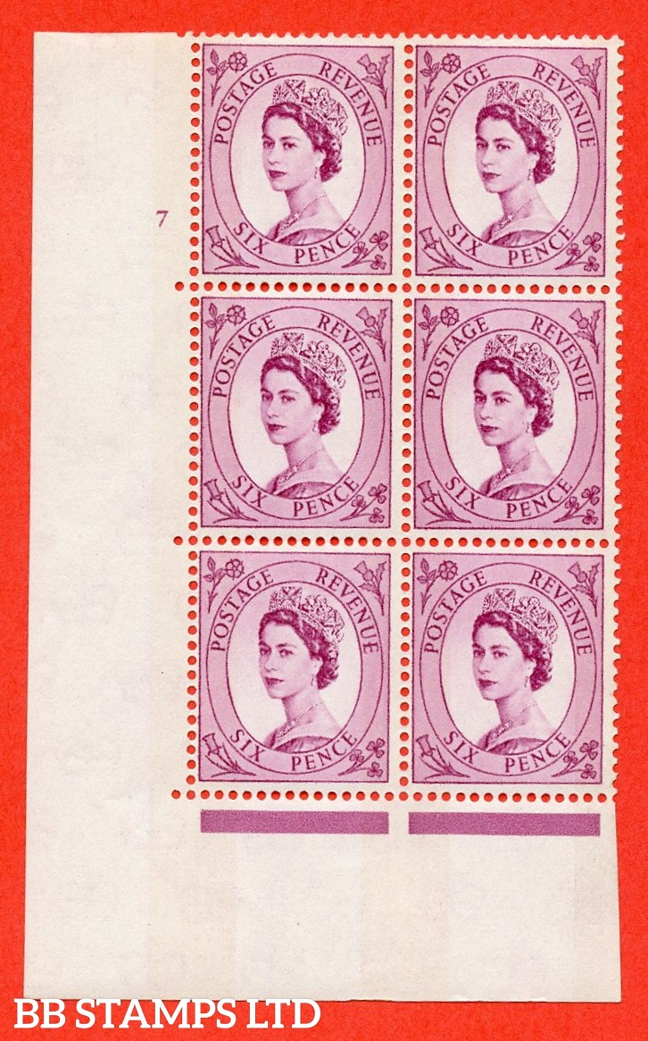 "SG.617. S110. 6d Deep claret. Photo. A fine mounted mint "" cylinder 7 no dot "" control block of 6 with perf type A (E/I). Blue Phosphor Cream paper."