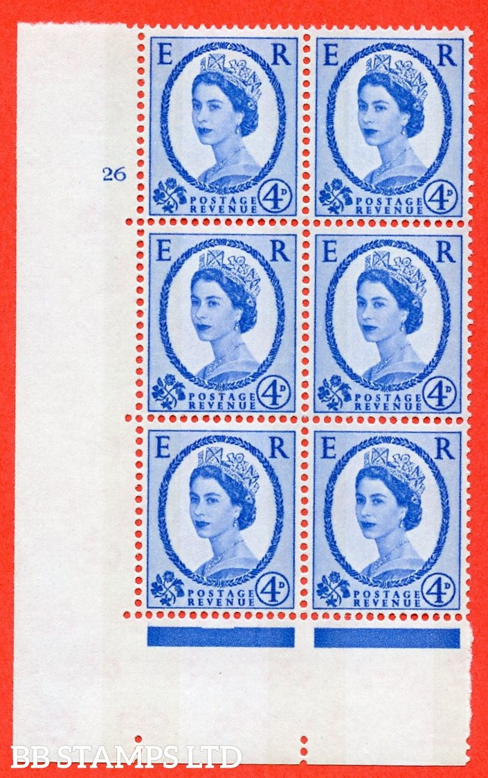 "SG.616a. S92. 4d Deep Ultramarine. A fine mounted mint "" cylinder 26 no dot "" control block of 6 with perf type A (E/I). violet Phosphor 9½mm Band."