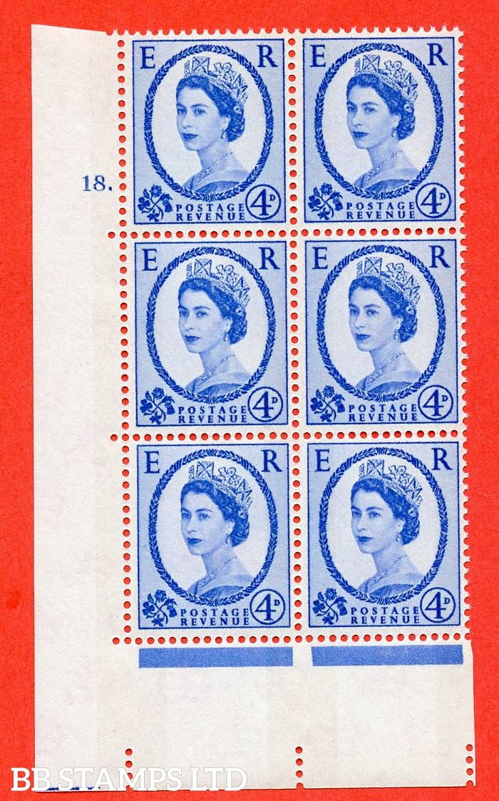"SG.616a. S91. 4d Deep Ultramarine. A fine mounted mint "" cylinder 18 dot "" control block of 6 with perf type A (E/I). violet Phosphor 8mm Band."