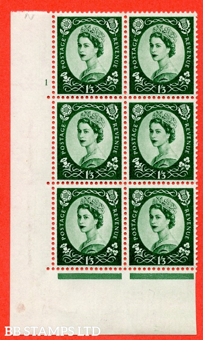 "SG. 585 S143. 1/3d Green  A fine mounted mint "" cylinder 1 no dot "" control block of 6 with perf type A (E/I)."