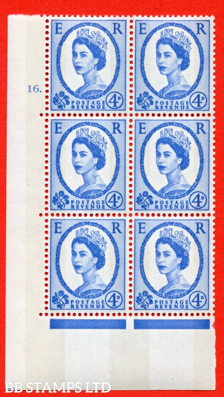"SG.616a. S92. 4d Deep Ultramarine. A superb UNMOUNTED MINT "" cylinder 16 dot "" control block of 6 with perf type A (E/I). violet Phosphor 9½mm Band."