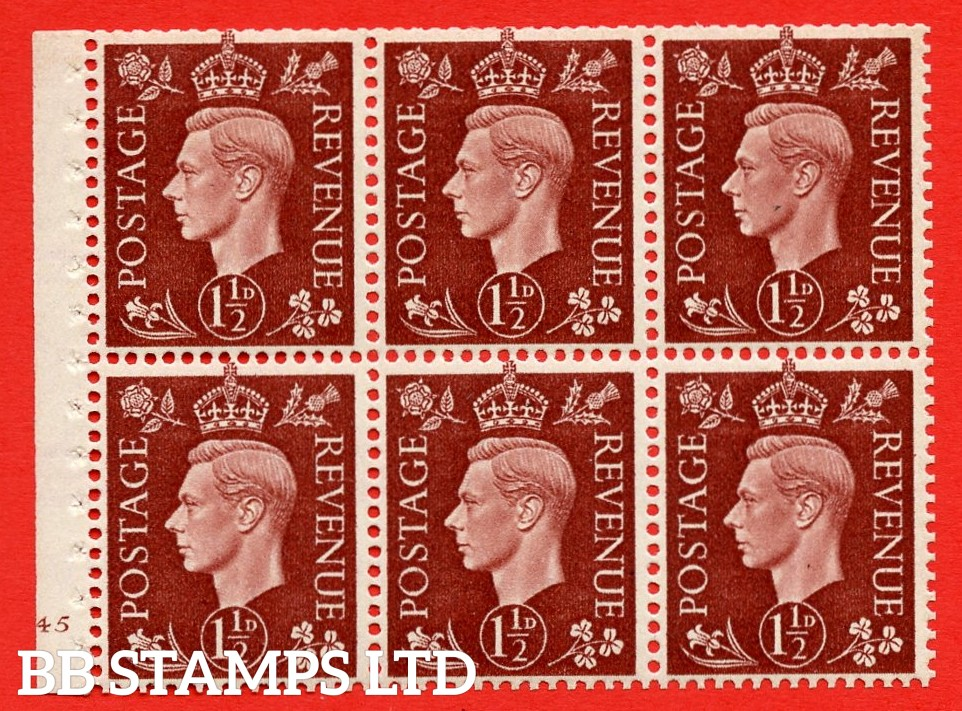 QB21 Perf Type B3(I) 1½d Red-Brown x 6 Pane, UNMOUNTED MINT Watermark Upright. Cylinder Pane G45 no dot ( SG. 464c ) Perf type B3(I). Trimmed Perfs.