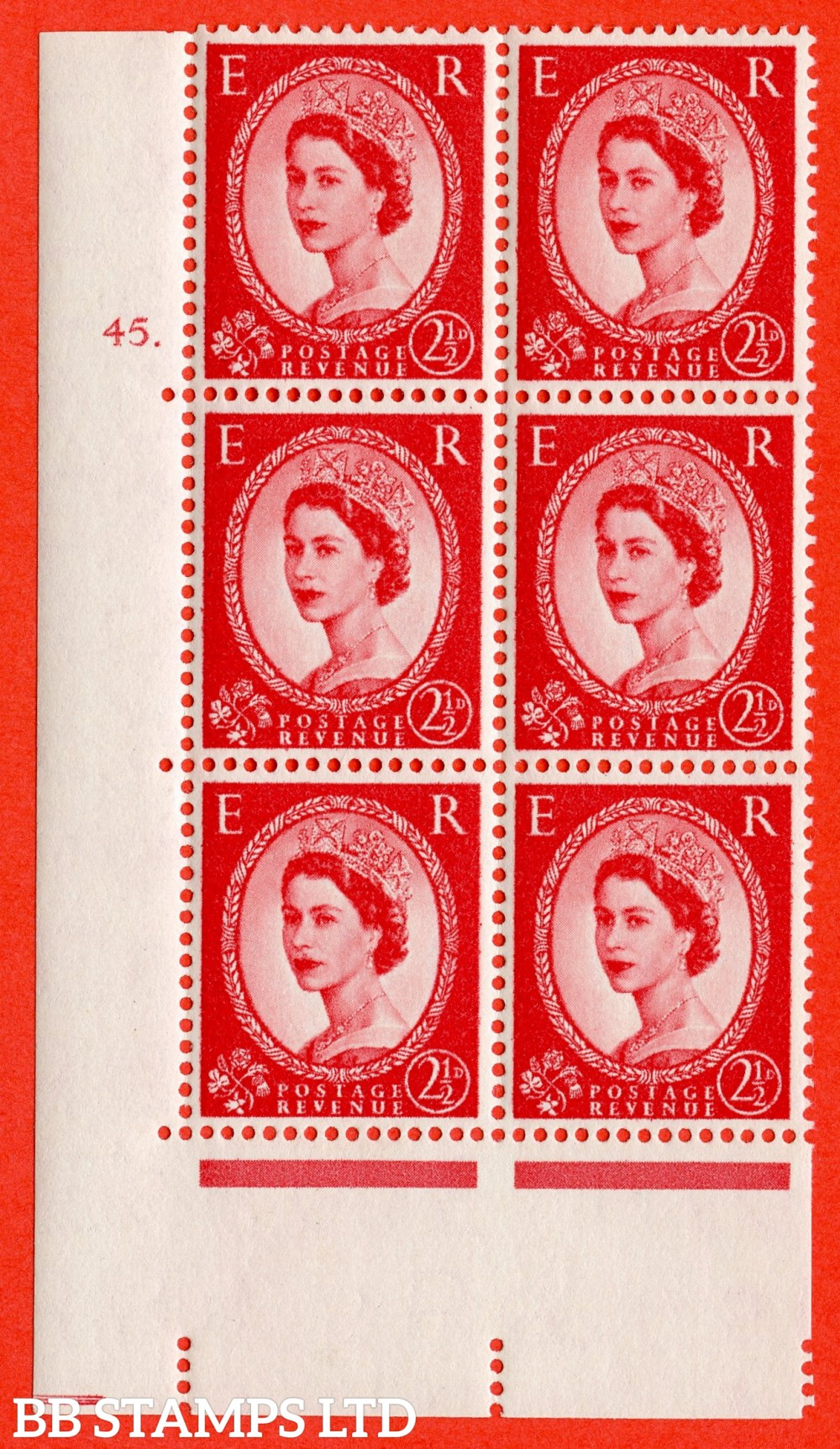 "SG. 544. S52. 2½d. Carmine - Red. A fine lightly mounted mint "" cylinder 45 dot "" control block of 6 with perf type A E/I."