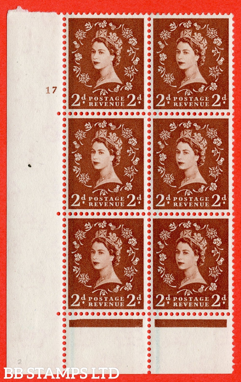 "SG. 590. S42. 2d Red - brown. A superb UNMOUNTED MINT"" cylinder 17 no dot "" control block of 6 with perf type C E/P."