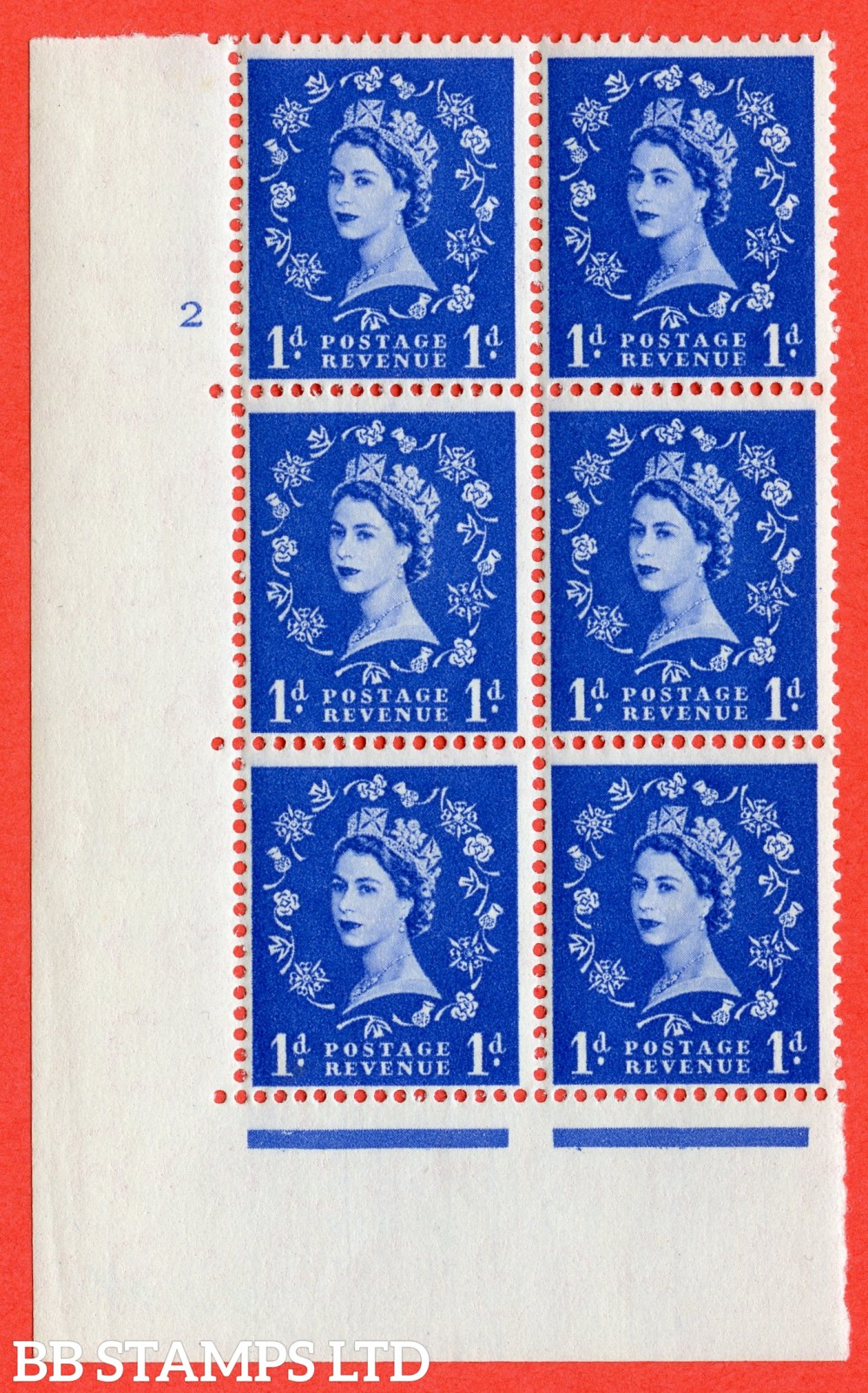 "SG. 541. S14d. 1d. Ultramarine. A superb UNMOUNTED MINT "" cylinder 2 no dot "" control block of 6 with perf type A E/I with "" Shamrock Flaw "" Row 18/2."