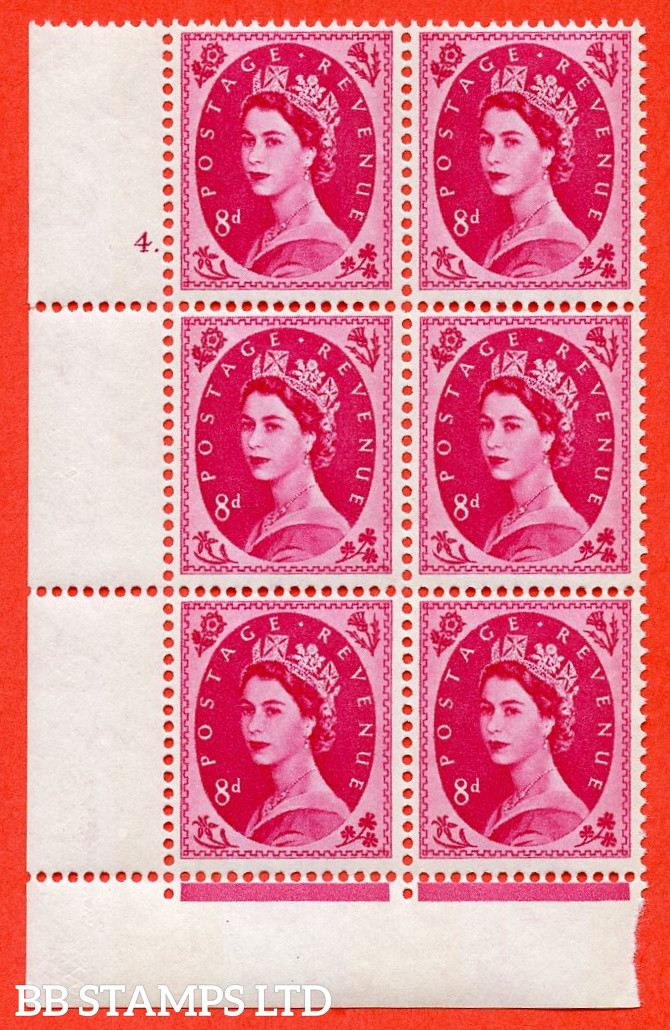 """SG.617b. S123. 8d Magenta. A fine mounted mint """" cylinder 4 dot """" control block of 6 with perf type FL (P/E). violet Phosphor 9½mm Band."""