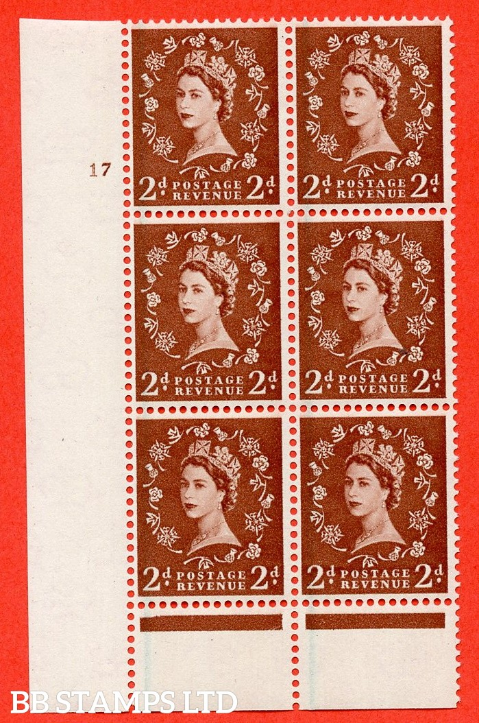 "SG. 590. S42. 2d Red - brown. A superb UNMOUNTED MINT"" cylinder 17 no dot "" control block of 6 with perf type B I/P."