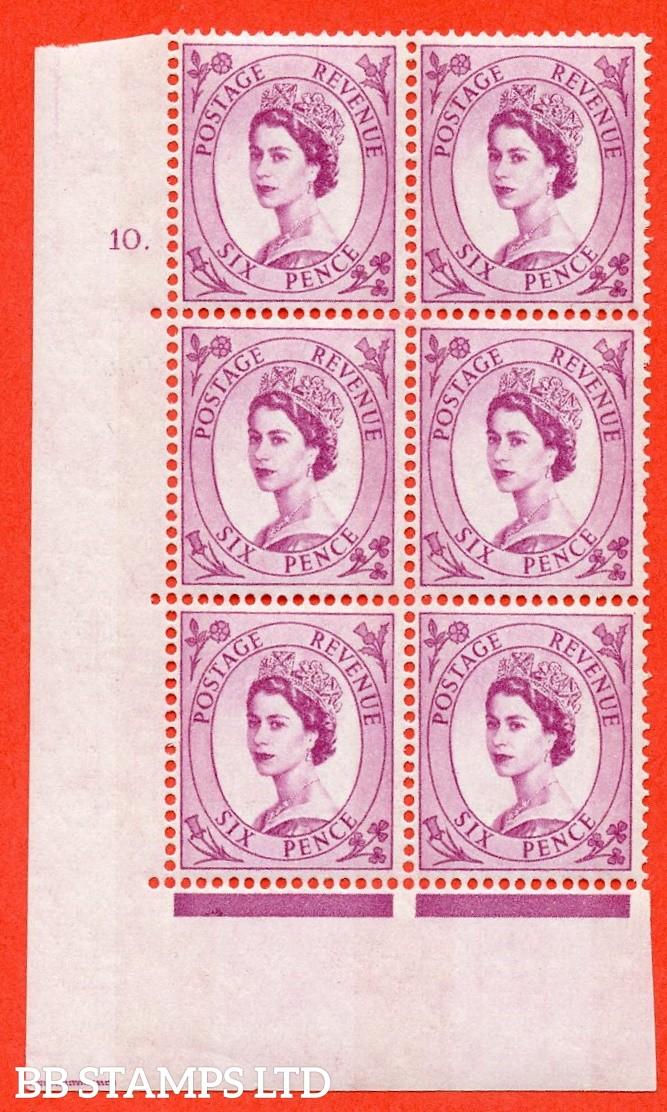 "SG.617. S111. 6d Deep Claret. Photo.  A superb UNMOUNTED MINT "" cylinder 10 dot "" control block of 6 with perf type A (E/I). Blue Phosphor White paper."