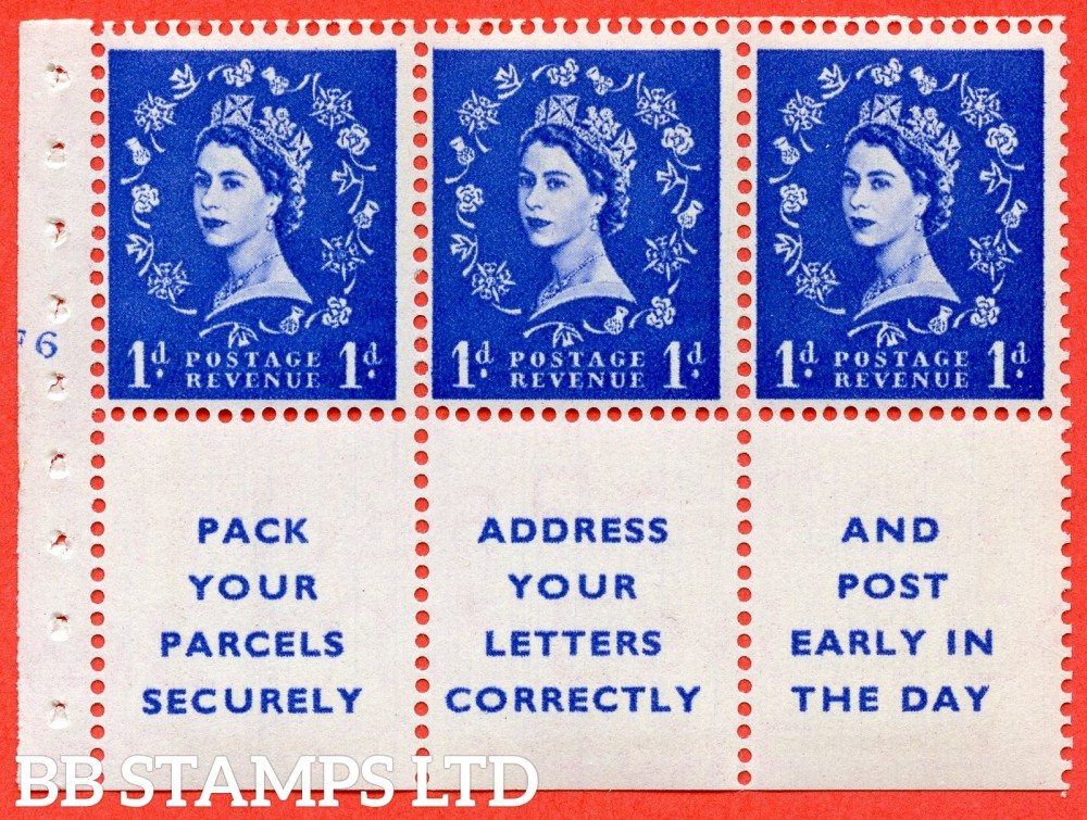"SG. 541. SB29. 1d ultramarine. A fine UNMOUNTED MINT cylinder "" F6 no dot "" booklet pane of 6. Perf type (I) with TRIMMED PERFS. Smooth edge."