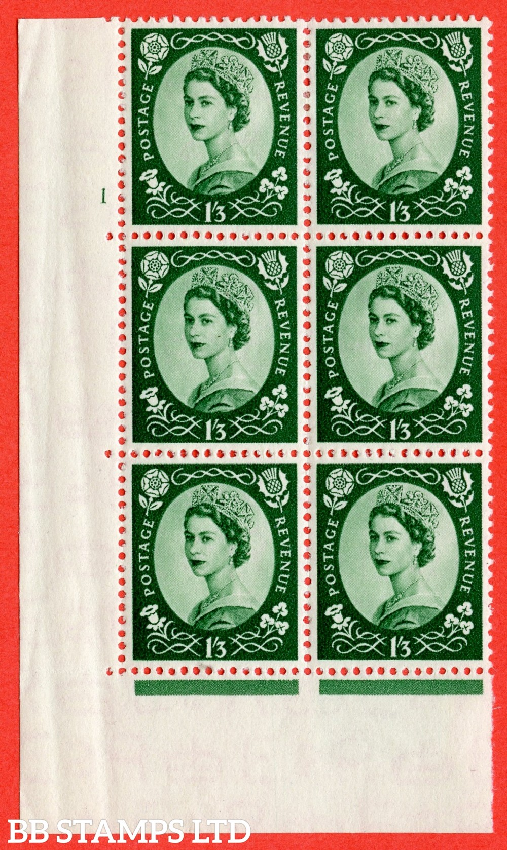 "SG. 530. S141. 1s.3d. Green. A fine lightly mounted mint "" cylinder 1 no dot "" control block of 6 with perf type A E/I."