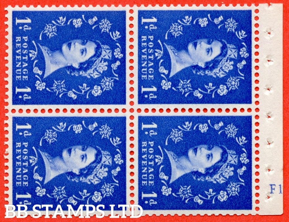 "SG. 571. SB34. 1d Ultramarine. A fine UNMOUNTED MINT cylinder "" F12  no dot "" booklet pane of 4. Perf type (I) with GOOD PERFS. Smooth edge. White paper."