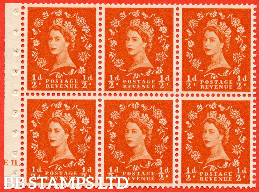 "SG. 570. SB7. ½d orange - red. A fine UNMOUNTED MINT cylinder "" E11 dot "" booklet pane of 6. Perf type (Ieb) with GOOD PERFS. Smooth edge."