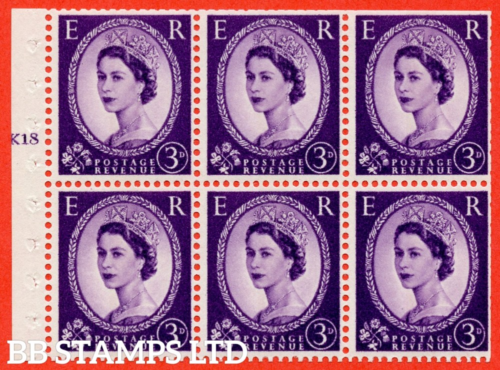 "SG. 615. SB104. 3d Deep Lilac. A fine UNMOUNTED MINT cylinder "" K18 T no dot "" booklet pane of 6. Perf type (I) with TRIMMED PERFS. Smooth edge."