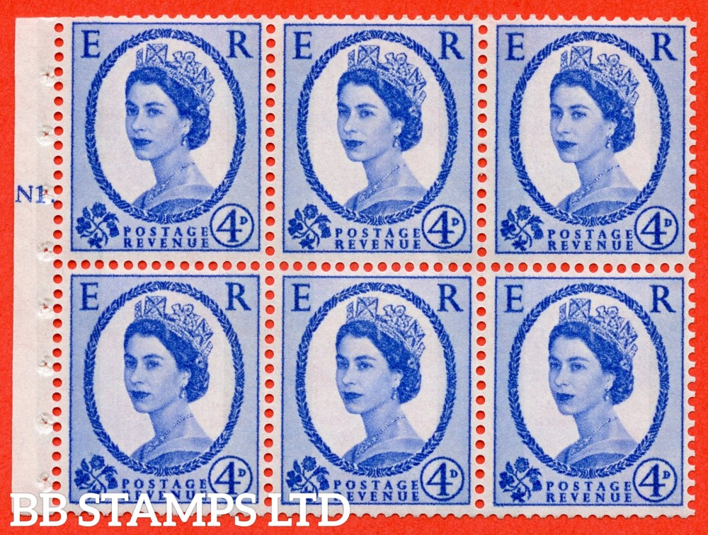 "SG. 616. SB107. 4d Ultramarine. A fine UNMOUNTED MINT cylinder "" N1 T dot "" booklet pane of 6. Perf type (Ieb) with GOOD PERFS. Smooth edge. White Paper."