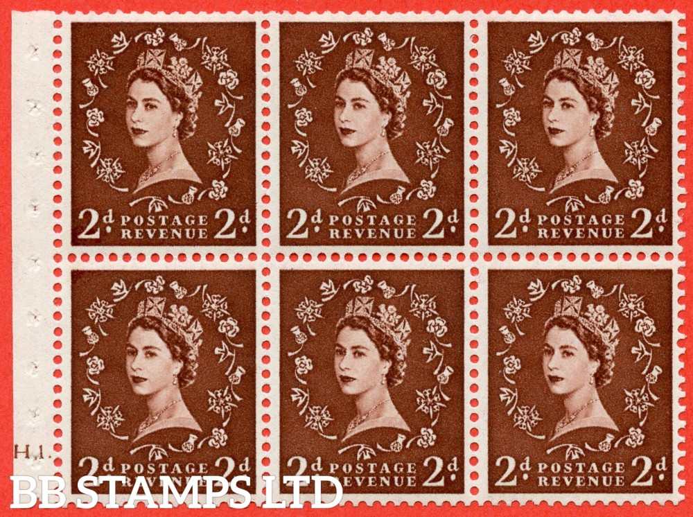 "SG. 518. SB76. 2d red - brown. A fine mounted mint cylinder "" H1 dot "" booklet pane of 6. Perf type (Ieb) with TRIMMED PERFS. Smooth edge."