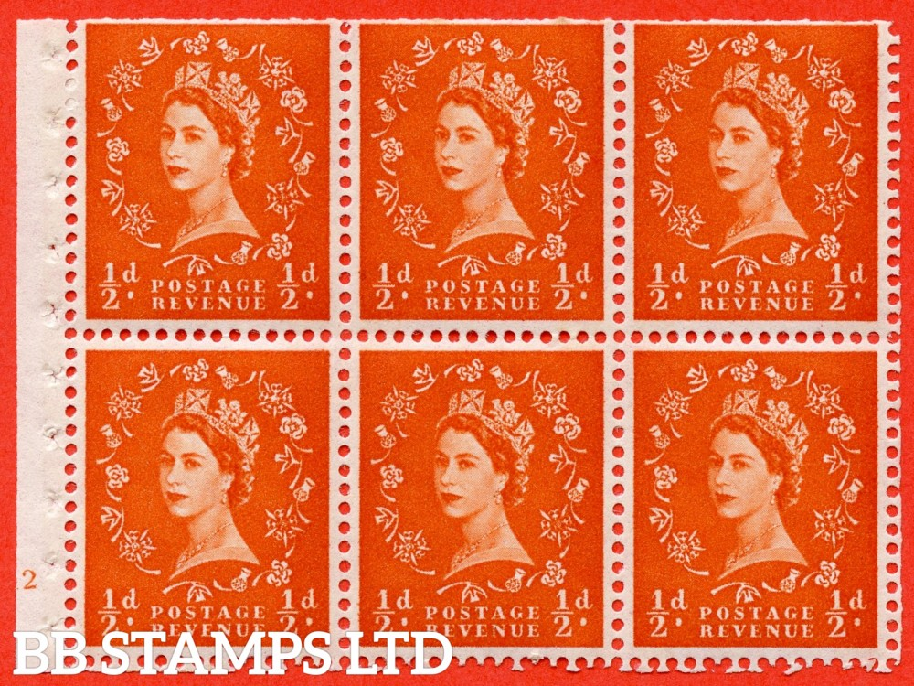 "SG. 610. SB17. ½d Orange Red. A fine mounted mint cylinder "" E12 no dot "" booklet pane of 6. Perf type (I) with TRIMMED PERFS. Smooth edge. White Paper."