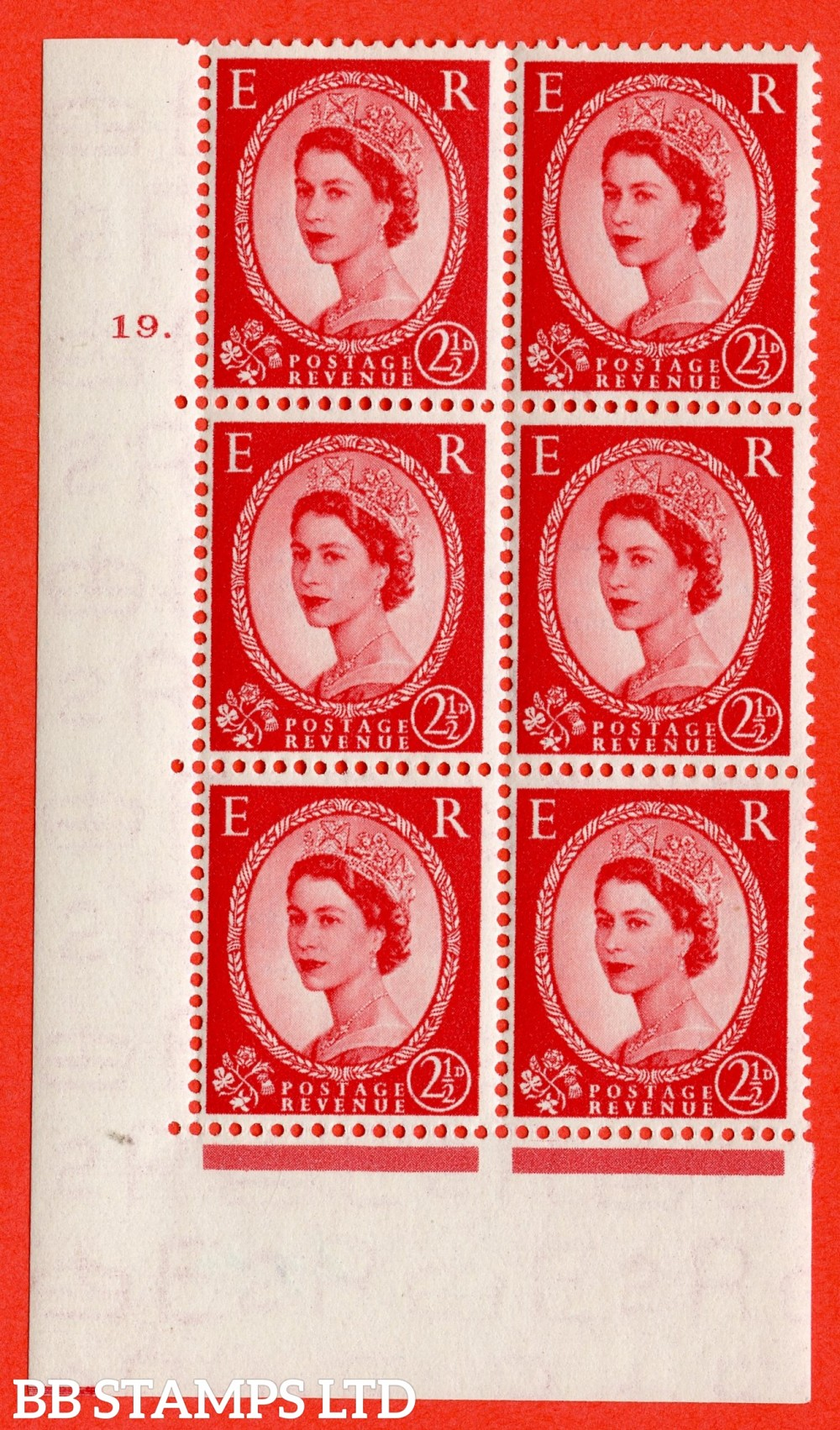 """SG. 519. S50. 2d Red-Brown. A fine mounted mint """" cylinder 19 dot """" control block of 6 with perf type A E/I."""