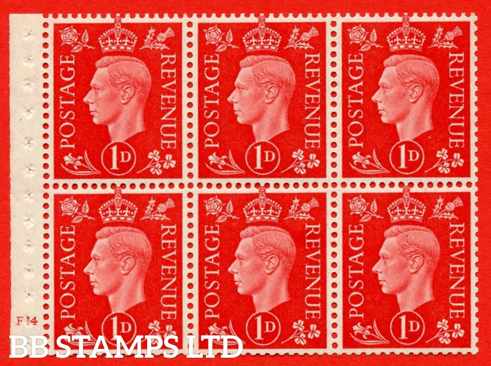 SG. QB10 Perf Type B3(I) 1d Scarlet x 6 Pane, MOUNTED MINT Watermark Upright. Cylinder Pane F14 no dot ( SG. 463b ) Perf Type B3(I). Good Perfs.