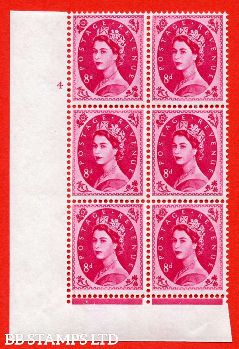 "SG.617b. S123. 8d Magenta. A superb UNMOUNTED MINT "" cylinder 4 no dot "" control block of 6 with perf type FL (I/E). violet Phosphor 9½mm Band. Variety of white flaw on diadem."