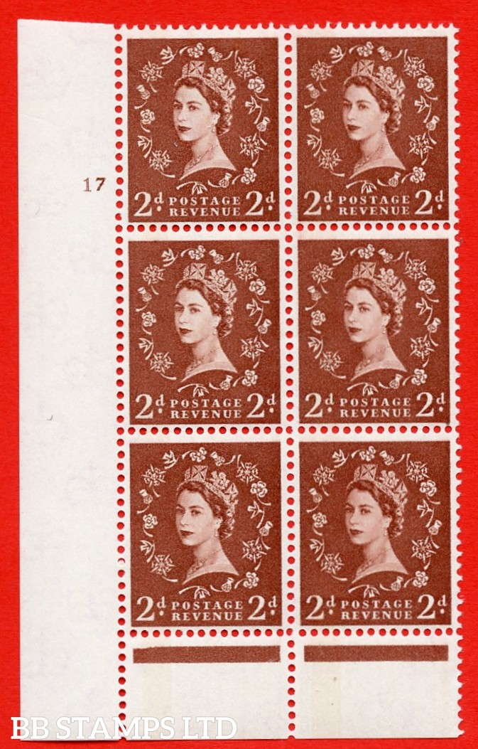 "SG. 613. S44. 2d Light red brown. A superb UNMOUNTED MINT "" cylinder 17 no  dot "" control block of 6 with perf type B (I/P). Green Phosphor."