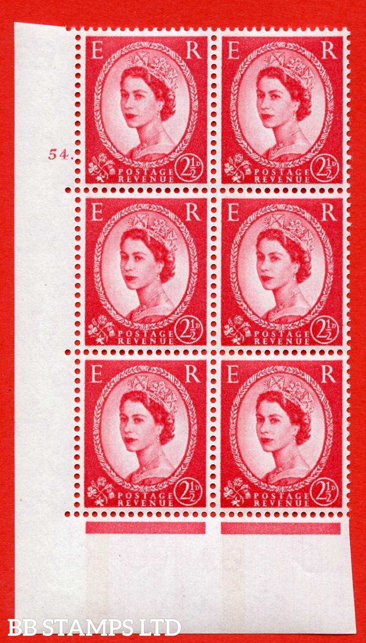 "SG.614a. S65. 2½d Carmine red. LB Photo. A superb UNMOUNTED MINT "" cylinder 54 dot "" control block of 6 with perf type A (E/I). Blue Phosphor White paper"