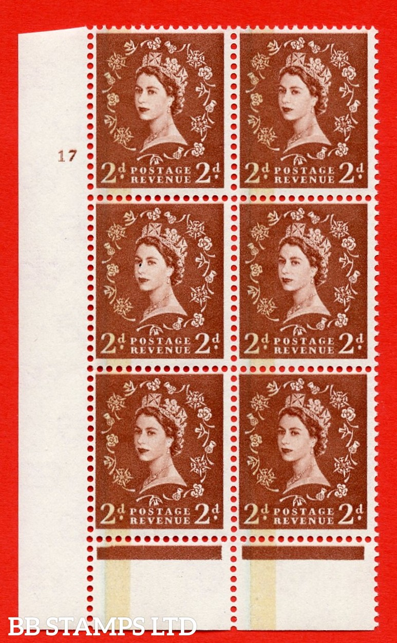"""SG. 605. S43. 2d Red - brown. A superb UNMOUNTED MINT """" cylinder 17 no dot """" control block of 6 with perf type C E/P."""