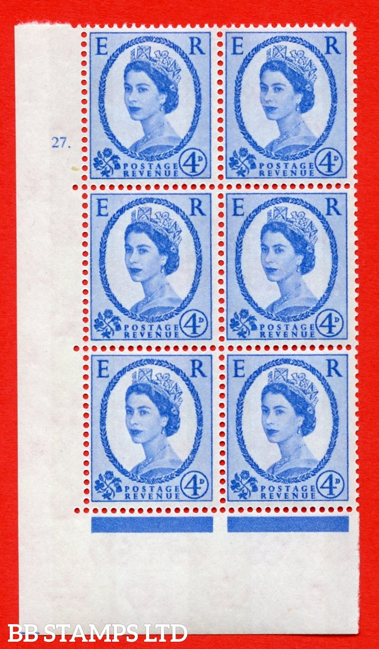 """SG.616a. S92. 4d Deep Ultramarine. A superb UNMOUNTED MINT """" cylinder 27 dot """" control block of 6 with perf type A (E/I). violet Phosphor 9½mm Band."""