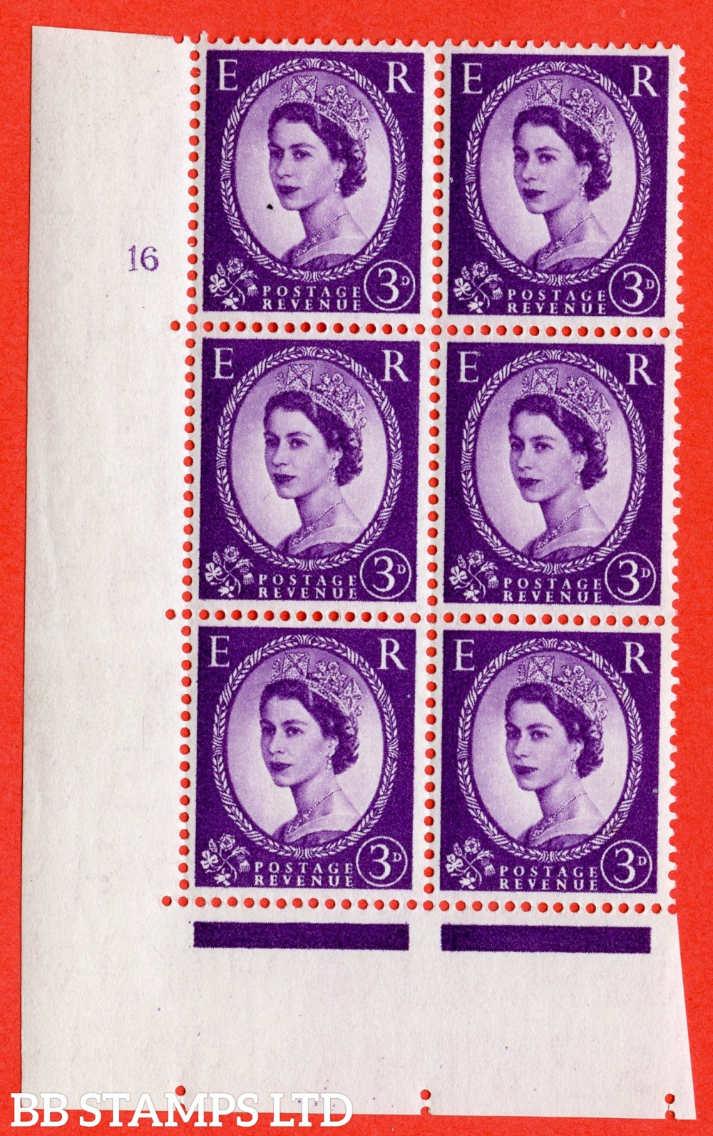 "SG. 545. S68. 3d. Deep - Lilac. A superb UNMOUNTED MINT "" cylinder 16 no dot "" control block of 6 with perf type A E/I."
